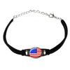 American USA Flag Novelty Suede Leather Metal Bracelet