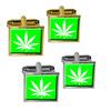 Marijuana Pot Weed Leaf - Green Square Cufflinks