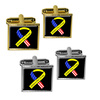 Support our Troops Ribbon - Yellow and flag on Black Square Cufflinks