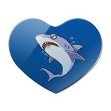 Great White Shark Cartoon in Ocean Heart Acrylic Fridge Refrigerator Magnet