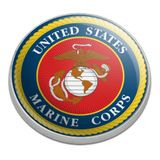 Marines USMC Logo Blue Red Gold Officially Licensed Golfing Premium Metal Golf Ball Marker