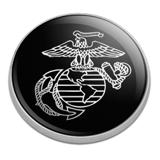Marines USMC White on Black Eagle Globe Anchor Logo Officially Licensed Golfing Premium Metal Golf Ball Marker