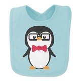 Cartoon Penguin with Bow Tie and Glasses Baby Bib