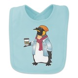 Cool Penguin Hipster with Coffee Baby Bib