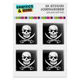 "Pirate Skull Crossed Swords Jolly Roger Computer Case Modding Badge Emblem Resin-Topped 1"" Stickers - Set of 4"