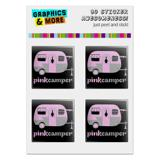 "Pink Camper Trailer Camping Logo Computer Case Modding Badge Emblem Resin-Topped 1"" Stickers - Set of 4"