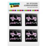 "Pink 4x4 Truck Off-Road Logo  Computer Case Modding Badge Emblem Resin-Topped 1"" Stickers - Set of 4"