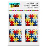 "Autism Awareness Diversity Puzzle Pieces Computer Case Modding Badge Emblem Resin-Topped 1"" Stickers - Set of 4"