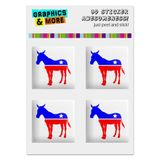 "Democrat Donkey Liberal America Political Party Computer Case Modding Badge Emblem Resin-Topped 1"" Stickers - Set of 4"