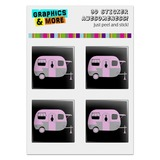 "Pink Camper Trailer Camping Computer Case Modding Badge Emblem Resin-Topped 1"" Stickers - Set of 4"