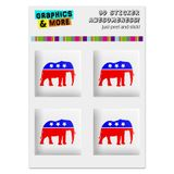 "Republican Elephant GOP Conservative America Political Party Computer Case Modding Badge Emblem Resin-Topped 1"" Stickers - Set of 4"