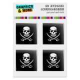 "Pirate Skull Crossed Swords Tattoo Design Computer Case Modding Badge Emblem Resin-Topped 1"" Stickers - Set of 4"