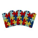 Autism Awareness Diversity Puzzle Pieces Credit Card RFID Blocker Holder Protector Wallet Purse Sleeves Set of 4