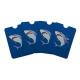Great White Shark Cartoon in Ocean Credit Card RFID Blocker Holder Protector Wallet Purse Sleeves Set of 4