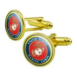 Marines USMC Logo Blue Red Gold Officially Licensed Round Cufflink Set Gold Color