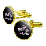 Pink Bike Motorcycle Chopper Logo Round Cufflink Set Gold Color