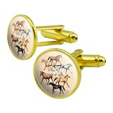 Horses of Different Colors Round Cufflink Set Gold Color