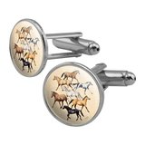Horses of Different Colors Round Cufflink Set Silver Color