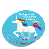 Unicorn The Important Thing is That I Believe in Myself Novelty Coaster Set