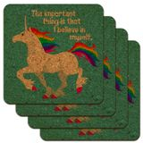 Unicorn The Important Thing is That I Believe in Myself Low Profile Novelty Cork Coaster Set