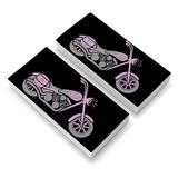 Pink Bike Motorcycle Chopper Eraser Set of 2