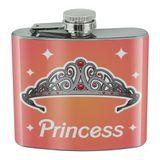 Princess Crown Tiara Pink Background Stainless Steel 5oz Hip Drink Kidney Flask