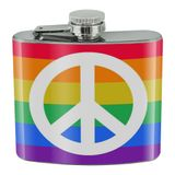 Peace Rainbow LGBTQ Symbol Stainless Steel 5oz Hip Drink Kidney Flask