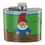 Garden Gnome with Toadstools Stainless Steel 5oz Hip Drink Kidney Flask