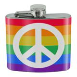 Peace Rainbow LGBTQ Symbol Stainless Steel 5oz Hip Drink Kidney Flask