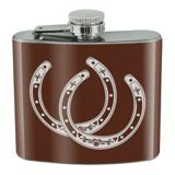 Horseshoe Lucky Double Cowboy Brown Stainless Steel 5oz Hip Drink Kidney Flask