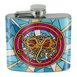 Flying Spaghetti Monster Stained Glass Stainless Steel 5oz Hip Drink Kidney Flask