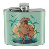 Dinosaur Tyrannosaurus Rex Running Stainless Steel 5oz Hip Drink Kidney Flask