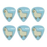 Llama Cartoon Novelty Guitar Picks Medium Gauge - Set of 6