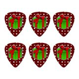 Present Gift Christmas Holiday Novelty Guitar Picks Medium Gauge - Set of 6