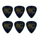 Happy New Year Novelty Guitar Picks Medium Gauge - Set of 6