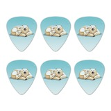 Polar Bear Mom with Cubs Family Novelty Guitar Picks Medium Gauge - Set of 6