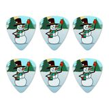 Snowman Waving Christmas Holiday Novelty Guitar Picks Medium Gauge - Set of 6