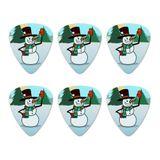 Snowman Waving Christmas Holiday Novelty Guitar Picks Medium Gauge - Set of 6