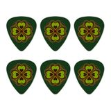 Four Leaf Clover Lucky Novelty Guitar Picks Medium Gauge - Set of 6