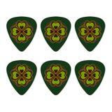 Four Leaf Clover Lucky Novelty Guitar Picks Medium Gauge - Set of 6