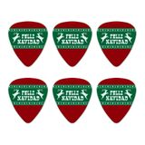 Feliz Navidad with Deer Merry Christmas Novelty Guitar Picks Medium Gauge - Set of 6