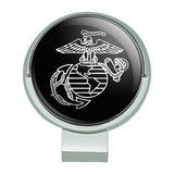 Marines USMC White on Black Eagle Globe Anchor Logo Officially Licensed Golf Hat Clip With Magnetic Ball Marker