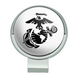 Marine Corps USMC Black on White Eagle Globe Anchor Officially Licensed Golf Hat Clip With Magnetic Ball Marker