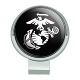 Marines USMC White Eagle Globe Anchor on Black Officially Licensed Golf Hat Clip With Magnetic Ball Marker