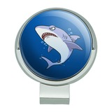 Great White Shark Cartoon in Ocean Golf Hat Clip With Magnetic Ball Marker