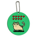 Nine Lives Cat Pixel Retro Game Round Wood Luggage Card Suitcase Carry-On ID Tag