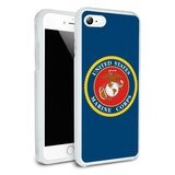 Marines USMC Logo Blue Red Gold Officially Licensed Protective Slim Fit Hybrid Rubber Bumper Case Fits Apple iPhone 8, 8 Plus, X