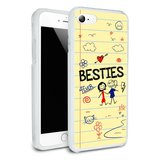 Besties Best Friends Protective Slim Fit Hybrid Rubber Bumper Case Fits Apple iPhone 8, 8 Plus, X