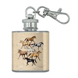 Horses of Different Colors Stainless Steel 1oz Mini Flask Key Chain