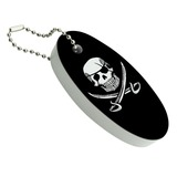 Pirate Skull Crossed Swords Tattoo Design Floating Foam Keychain Fishing Boat Buoy Key Float